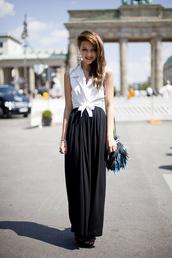 black skirt,long sleeves,vintage,earrings,feathers,black bag,skirt,blouse