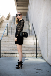 blogger,bag,sunglasses,shoes,dress,black,lace,lace dress,chic,style,fashion,christmas dress,party dress,mini dress,black lace dress,black bag,black sunglasses,cat eye,boots,high heels boots,black boots,all black everything