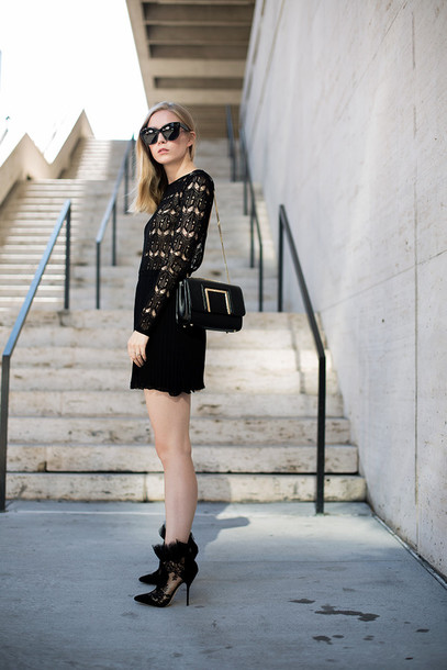 blogger bag sunglasses shoes dress black lace lace dress chic style fashion christmas dress party dress mini dress black lace dress black bag black sunglasses cat eye boots high heels boots black boots all black everything