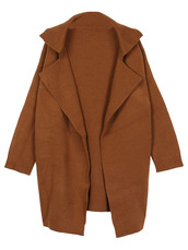 coat,Choies,brown,lapel,long-sleeve,knit-coat