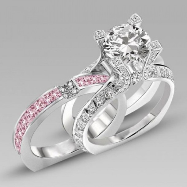 Jewels Evolees Gorgeous Two In One Round Cut Diamond Engagement Ring And Pink Sapphire Wedding Band Bridal Set