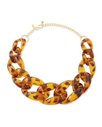 Kenneth Jay Lane Brown Tortoise Link Necklace