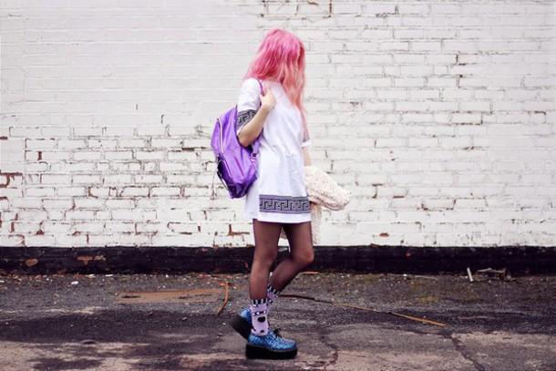 kayla hadlington blogger t-shirt dress jacket socks bag