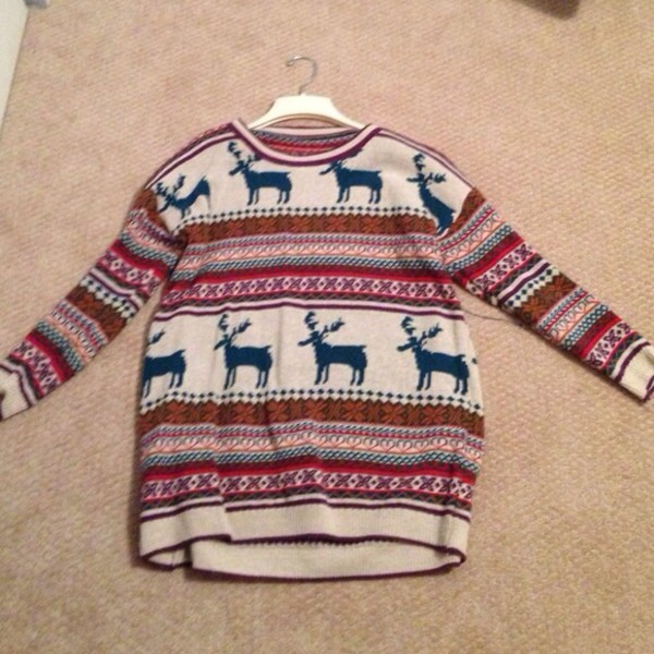 Light Khaki Deer Fair Isle Christmas Xmas Warm Nicest Pattern ...