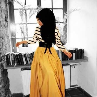 skirt maxi skirt belt shirt hijab top