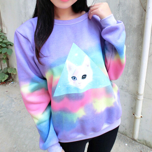 sweater pullover cats purple sweater rainbow cats pullover cat, meow, cute , black , white