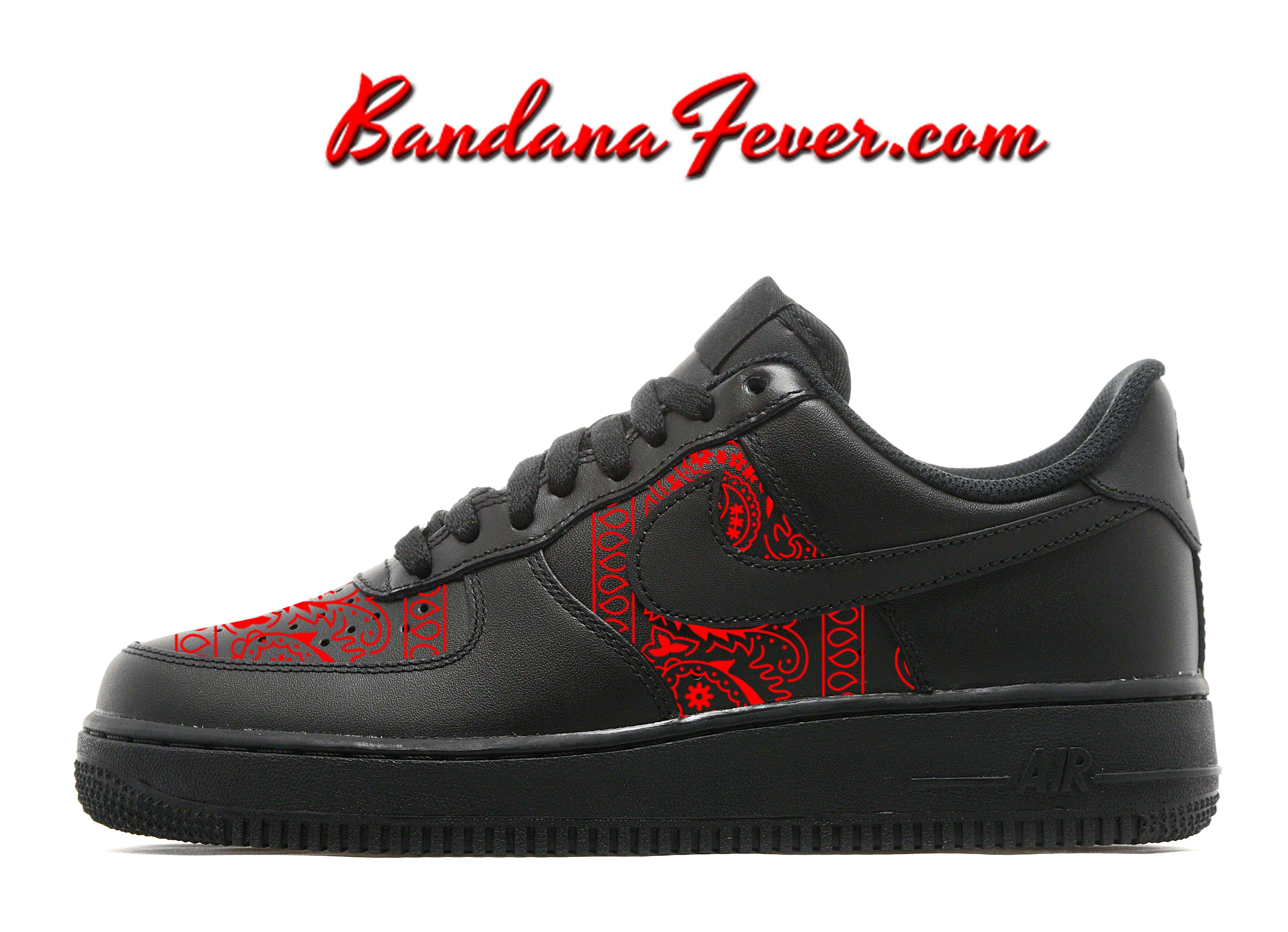 Custom Red Bandana Nike Air Force 1 Shoes Low Black