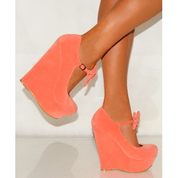 Ladies coral pink suede bow wedges platforms high heels