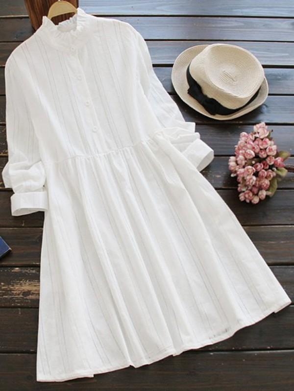 Zaful Ruff Collar Smock Dress in white