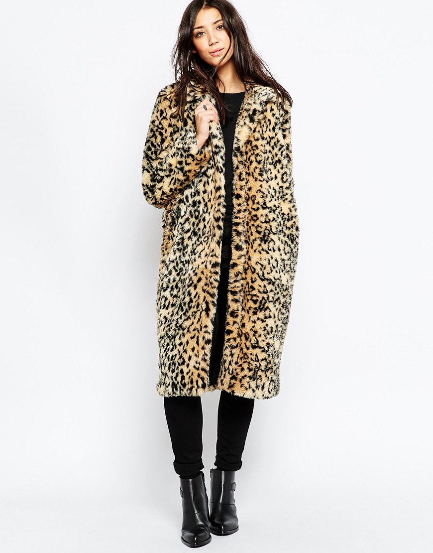 290dda8b30291 Brave Soul Faux Fur Leopard Coat at asos.com