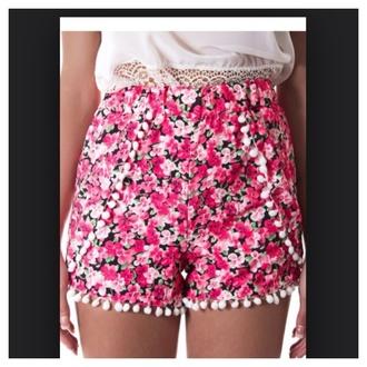 shorts floral pom pom shorts