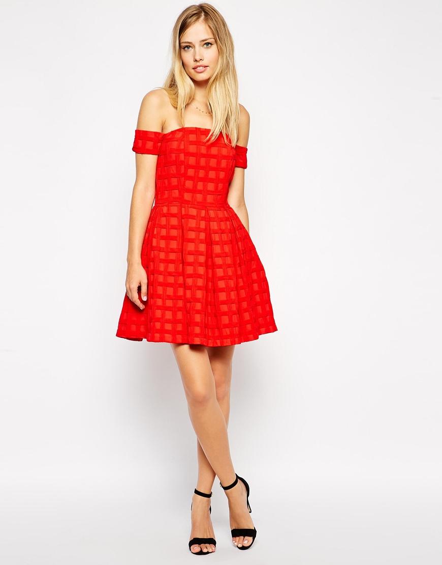 ASOS Bardot Textured Prom Dress at asos.com
