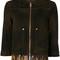 Diesel - fringed crop sleeve jacket - women - cotton/sheep skin/shearling - s, brown, cotton/sheep skin/shearling