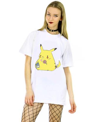 shirt white shirt t-shirt pikachu cartoon white casual summer spring
