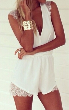 Trumpet with Lace Romper - Juicy Wardrobe
