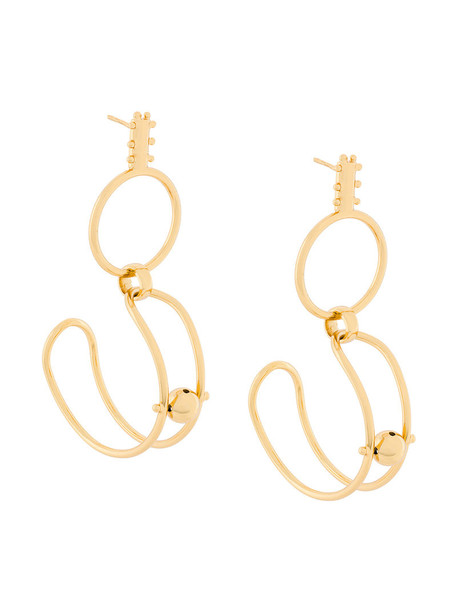 Paula Mendoza women earrings gold grey metallic jewels