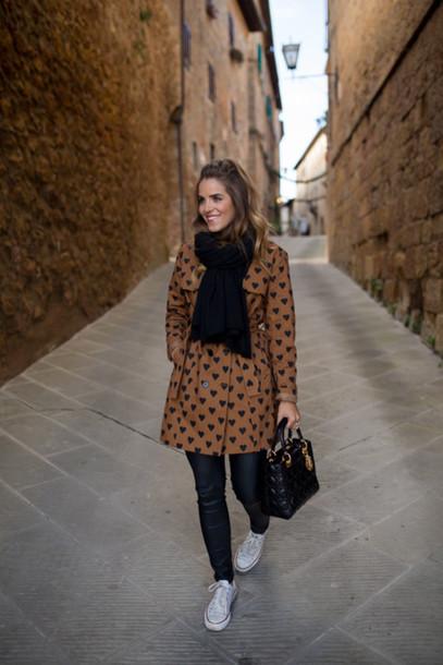 gal meets glam blogger coat t-shirt pants shoes scarf bag