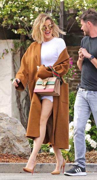 dress white white dress khloe kardashian kardashians pumps mini dress spring outfits coat camel camel coat jacket
