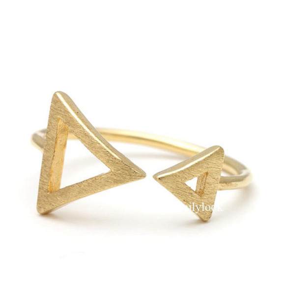 jewels gold ring woman ring triangle ring sideways triangle geometric ring simple ring man ring adjustable ring unique ring