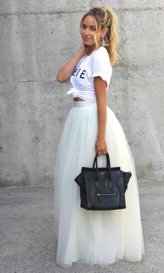 skirt white tulle skirt prom skirt shoes t-shirt