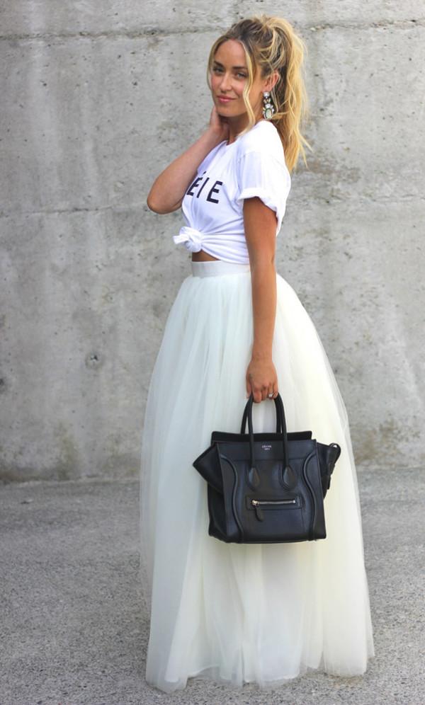 Skirt White Tulle Skirt Prom Skirt Shoes T Shirt