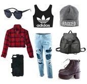 scarf,outfit,outfit idea,style,streetstyle,streetwear,sportswear,lookbook,look,adidas,backpack,boots,beanie,quote on it,plaid crop tops,chanel,iphone case,sunglasses,ripped jeans,fall outfits,winter outfits,leather backpack,platform shoes,phone cover,bag,jeans,top