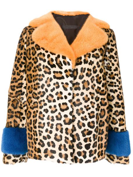 SIMONETTA RAVIZZA jacket fur women print silk leopard print