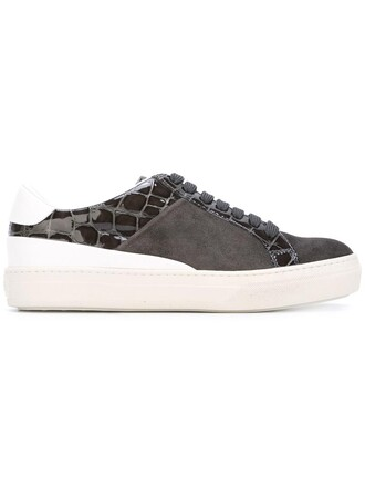women sneakers leather suede crocodile grey shoes