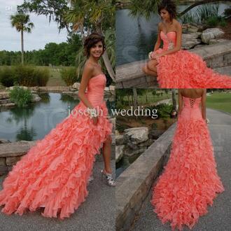 dress coral dress coral prom dress sweetheart ruffles long  coral prom dress.