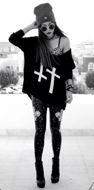top black big shirt with white crosses