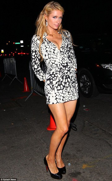 dress paris hilton fashion week 2014 black and white dress