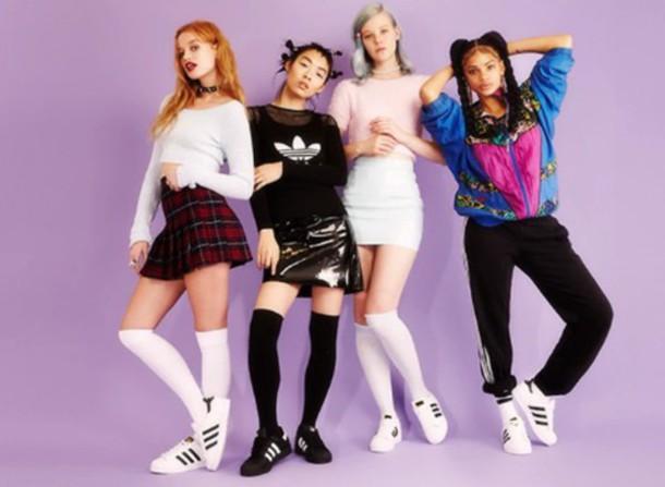 Shoes adidas teen girls encouraging branding high socks school girl mini skirt purple ...