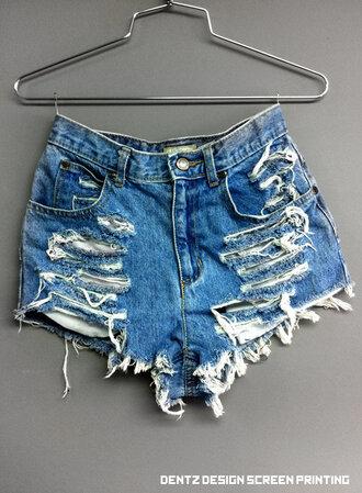 shorts high waisted denim bottoms hot girl ripped scene hipster