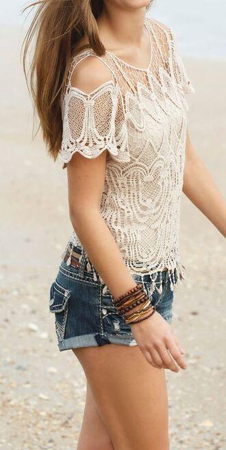 top lace top shirt blouse crochet top boho shirt beige tank top