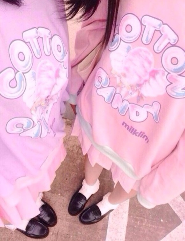 sweater cotton cotton candy cotton candy pink pink kawaii purple milklim sweet lovely