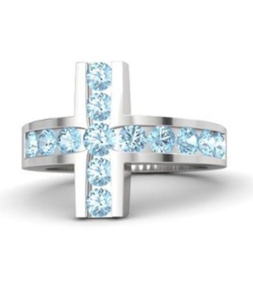 cross jewels ring topaz swarovski