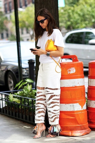 le fashion image blogger zebra white pants fringe shoes yellow bag see through