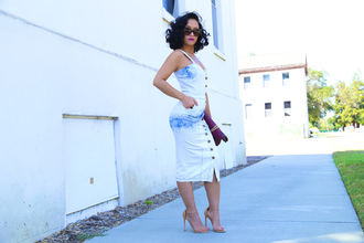 ktr style blogger dress button up bodycon dress blue and white