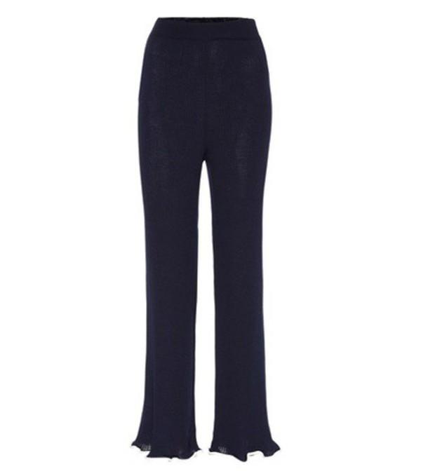 Stella McCartney Ribbed wool trousers in blue