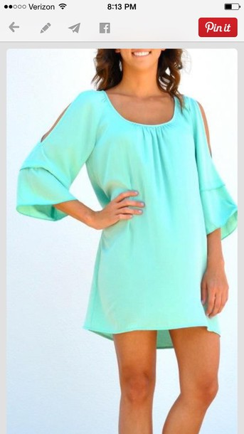 Dress: tiffany blue, long sleeves, loose, style, casual, casual ...