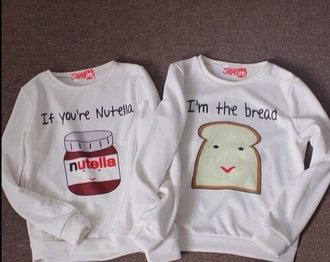 sweater nutella white bread sweatshirt two bff bag nutella shirt best friend shirts bff sweaters white sweater nutella and bread couple sweaters matching couples jacket