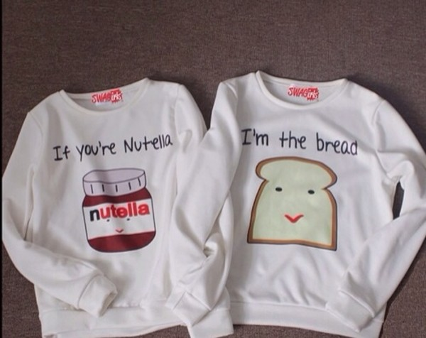 sweater nutella white bread sweatshirt two bff bag