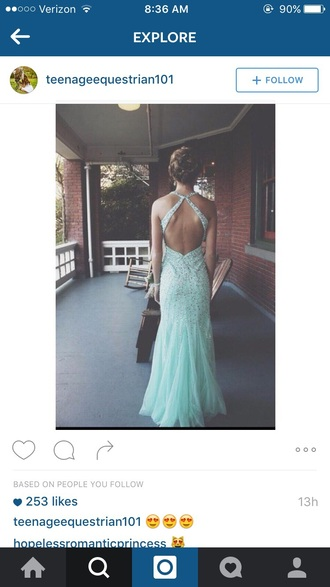 dress prom turquois sequins ruffle long prom dress open back