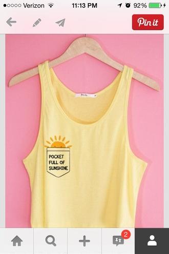 shirt yellow crop tops sunshine pocket t-shirt pocket
