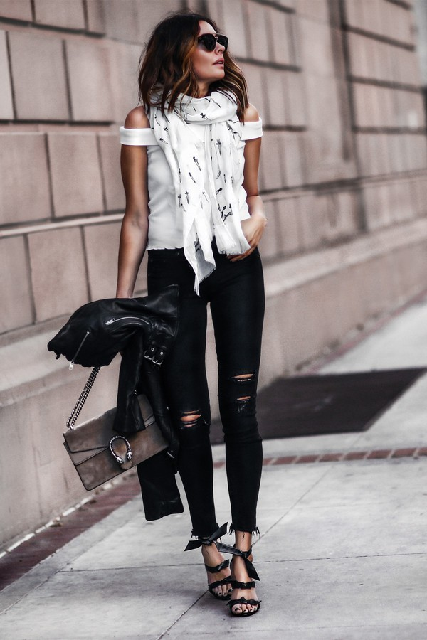 fashionedchic blogger scarf shirt jeans jacket shoes bag black jeans gucci bag white top spring outfits sandals high heel sandals