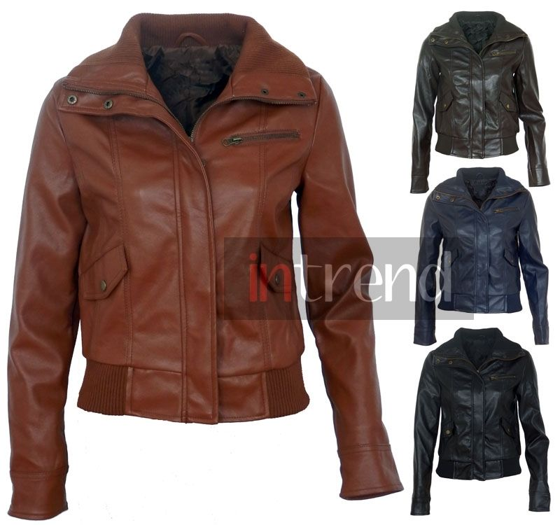 LADIES FAUX LEATHER BOMBER JACKET WOMENS PVC BIKER JACKET 4 COLOURS SIZES 8-16 | eBay