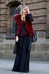 ohh couture,blogger,blouse,faux fur vest,black skirt,burgundy,jacket,cardigan,pants,bag,shoes,jewels