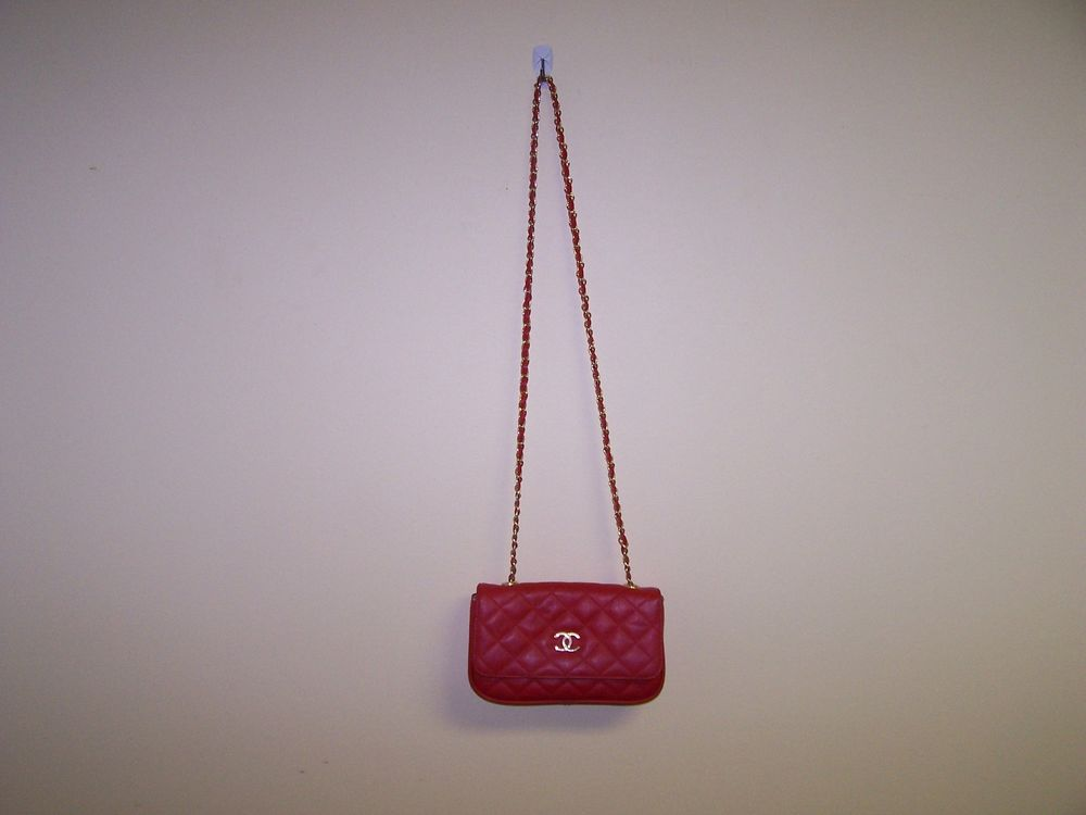 Red Shoulder Bag Long Strap Quilted Pattern | eBay