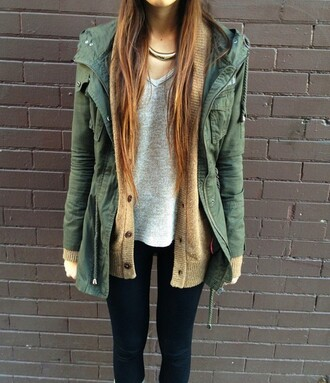 jacket green parka necklace t-shirt coat fall outfits winter outfits olive green anorak outwear