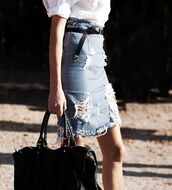 skirt,denim,pencil skirt,ripped,vintage,denim pencil skirt,high waisted